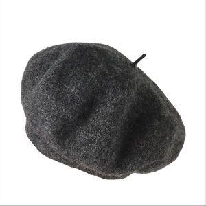 Vintage 90s Soft Wool Heather Grey Beret Hat